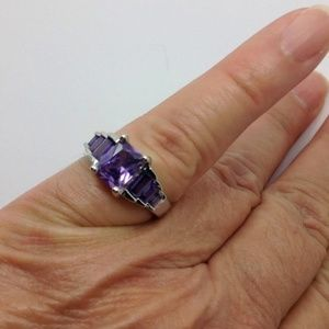 Jewelry - 925 over Silver Plated purple gemstone ring